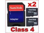 2x SanDisk 32GB Class 4 Micro SD SDHC MicroSD Memory Card 32 G GB 32G TF