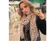 Women Fashion Chiffon Sweet Cat Kitten Scarf Graffiti Style Shawl Wrap Black / Khaki