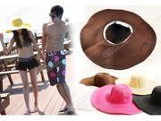 Summer Foldable Lady Trendy Floppy Large Wide Brim Travel Beach Straw Sun Beach Hat Derby Cap