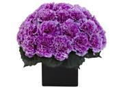 Nearly Natural Carnation Arrangement With Vase In Purple