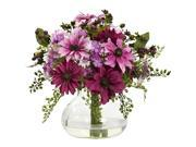 Nearly Natural Mixed Daisy Arrangement With Vase In Pink