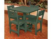 Eagle One 5 Piece Cafe Square Table Dining Set In Green