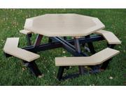 Eagle One Hexagon All Greenwood Picnic Table In Black/Driftwood