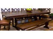 Sunny Designs Santa Fe Trestle Table with Slates In Dark Chocolate