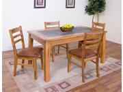 Sunny Designs Sedona Table with Slate Top In Rustic Oak