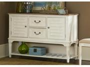 Liberty Furniture Bluff Cove Leg Server in Weathered Sand & White Two Tone