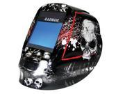 "Radnor DV Series Black, White And Red Welding Helmet With 5 1/4"" X 4 1/2"" DV81 Variable Shade 5-14 Auto-Darkening Lens And Skull Graphics"
