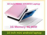 10.1 inch VIA 8850 Android 4.0 Laptop Netbook 512MB RAM 4GB ROM Webcam Wifi 1024x600 Android Notebook HDMI