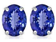 1 CT Genuine Tanzanite Stud Earrings in Sterling Silver