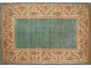 30'' x 50'' Ruby Series Wool Hearth Rug Slate Blue With Floral Border