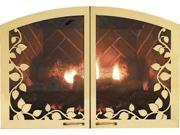 "Leaf Arch 36"" Fireplace Doors VFR36SLHP - Hammered Pewter"