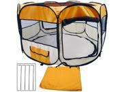 """Medium Size 45"""" Two-Door Portable Pop-Up Kennel Play Tent For Pets (Orange)"""