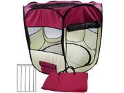 """Large 48"""" Two-Door Pop Up Pet Exercise Playpen Kennel Light W/ Removable Top & Bottom Cover (Maroon)"""