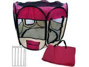 """Small 33"""" Two-Door Portable Pet Playpen Kennel Tent For Small Dogs And Cats (Maroon)"""