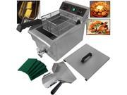 10 Liter Electric Countertop Deep Fryer Kitchen/Restaurant 1500W Stainless Steel Adjustable Temperature Built-in Timer