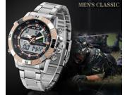 WEIDE Fashion Waterproof Steel LED Watches with Double Movt Display Time Round Shaped for men