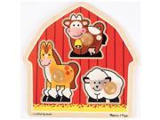 Melissa & Doug Deluxe Wooden Barnyard Animals Jumbo Knob Puzzle - 3-Piece