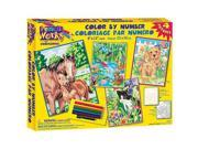 """Pencil By Number Kit 9""""X12"""" - Set of 4: Animal Friends"""