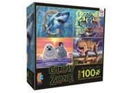 Glow Zone Puzzle Set Four - 100 Piece Puzzles with Shark Tiger Dinosaur Seal