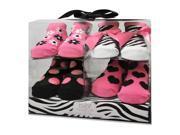Baby Essentials Girls 4 Pack Sock Set - Pink Zebra