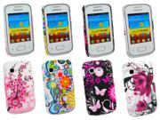 Kit Me Out USA Plastic Clip-on Case Pack for Samsung Galaxy Pocket S5300 - Circles With Flowers, Purple Bloom, Pink Garden , Blossom Pink