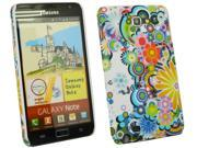 Kit Me Out USA Plastic Clip-on Case + Screen Protector with MicroFibre Cleaning Cloth for Samsung Galaxy Note i9220 N7000 - Circles With Flowers