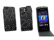 Kit Me Out US PU Leather Flip Case + Screen Protector with MicroFibre Cleaning Cloth for Sony Xperia Ray - Black Sparkling Glitter Design