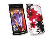 Kit Me Out USA Plastic Clip-on Case for Sony Ericsson Xperia Arc / Arc S X12 - Oriental Flowers