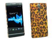 Kit Me Out USA Plastic Clip-on Case + Screen Protector with MicroFibre Cleaning Cloth for Sony Xperia S LT26i - Brown Leopard