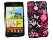Kit Me Out USA Plastic Clip-on Case + Screen Protector with MicroFibre Cleaning Cloth for Samsung Galaxy Note i9220 N7000 - Pink Garden