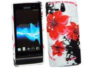 Kit Me Out US IMD TPU Gel Case + Screen Protector with MicroFibre Cleaning Cloth for Sony Xperia U ST25i - White Oriental Flowers