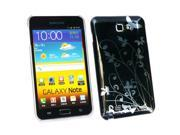 Kit Me Out USA Plastic Clip-on Case + Screen Protector with MicroFibre Cleaning Cloth for Samsung Galaxy Note i9220 N7000 - Black Flowers