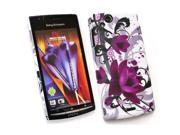 Kit Me Out USA Plastic Clip-on Case for Sony Ericsson Xperia Arc / Arc S X12 - Purple Bloom