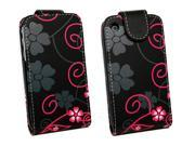 Kit Me Out USA PU Leather Flip Case + Screen Protector with MicroFibre Cleaning Cloth for Apple iPhone 3GS - Black & Pink Flowers