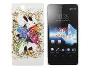 Kit Me Out US Hard Clip-on Case + Screen Protector with MicroFibre Cleaning Cloth for Sony Xperia Z - White Coloured Butterfly