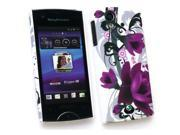 Kit Me Out USA Plastic Clip-on Case for Sony Ericsson Xperia Ray (ST-18i) - Purple Bloom