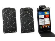 Kit Me Out US PU Leather Flip Case + Screen Protector with MicroFibre Cleaning Cloth for Samsung Galaxy S2 i9100 - Black Sparkling Glitter Design