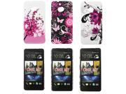 Kit Me Out US Hard Clip-on Case Pack for HTC One M7 - Blossom Pink & Pink Garden & Purple Bloom