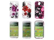 Kit Me Out US TPU Gel Case Pack for Samsung Galaxy S4 i9500 - Purple Bloom, Oriental Flowers And Pink Garden