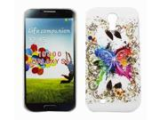 Kit Me Out US Hard Clip-on Case + Screen Protector with MicroFibre Cleaning Cloth for Samsung Galaxy S4 i9500 - White Coloured Butterfly