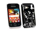 Kit Me Out USA Plastic Clip-on Case + Screen Protector with MicroFibre Cleaning Cloth for Samsung S5360 Galaxy Y - Black Flowers