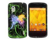 Kit Me Out US IMD TPU Gel Case + Screen Protector with MicroFibre Cleaning Cloth for LG Google Nexus 4 E960 - Black Graffiti Butterfly