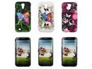 Kit Me Out US Hard Clip-on Case Pack for Samsung Galaxy S4 i9500 - Graffiti Butterfly, Coloured Butterfly And Pink Garden