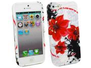 Kit Me Out USA TPU Gel Case + Screen Protector with MicroFibre Cleaning Cloth for Apple iPhone 5/5G 5S - White Oriental Flowers