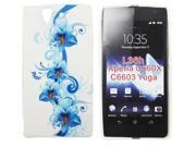 Kit Me Out US TPU Gel Case + Screen Protector with MicroFibre Cleaning Cloth for Sony Xperia Z - Blue Floral