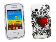Kit Me Out US Hard Clip-on Case + Screen Protector with MicroFibre Cleaning Cloth for Samsung Galaxy Pocket S5300 - Tattoo Heart