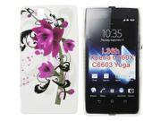 Kit Me Out US IMD TPU Gel Case + Screen Protector with MicroFibre Cleaning Cloth for Sony Xperia Z - Purple Bloom