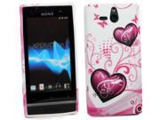Kit Me Out USA TPU Gel Case + Screen Protector with MicroFibre Cleaning Cloth for Sony Xperia U ST25i - Purple Hearts