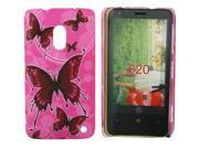 Kit Me Out US Hard Clip-on Case + Screen Protector with MicroFibre Cleaning Cloth for Nokia Lumia 620 - Pink Butterflies