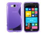 Kit Me Out US TPU Gel Case + Screen Protector with MicroFibre Cleaning Cloth for Samsung Galaxy Ativ S i8750 - Purple S Line Wave